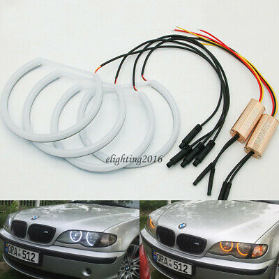 Swtichback white/amber LED Angel Eyes Halo Rings For BMW E46 Halogen Headlight
