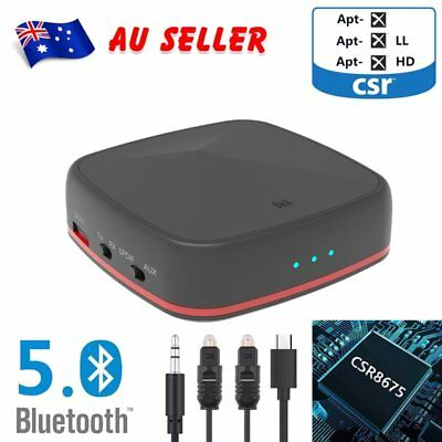 Bluetooth 5.0 Transmitter Receiver Audio Adapter Optical 3.5mm Aptx Low Latency