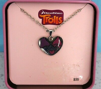 DREAMWORKS Trolls Stainless Steel Heart Pendant Necklace MSRP $35 NEW IN BOX