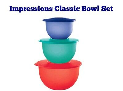 Tupperware Impressions Classic Mixing Bowls NESTING NEW 3pc Set FREE US SHIPPING