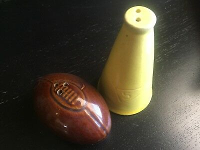 football Salt & Pepper Shakers Vintage Hand Painted Sarsaparilla 1981