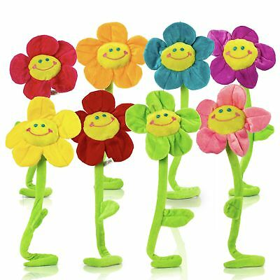 Plush Daisy Flower With Smiley Happy Faces Colorful Soft Bendable Stems Toy For