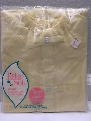 NIP Vintage LITTLE SET Baby Yellow 100% Combed Cotton Knit Kimono Size 6 months