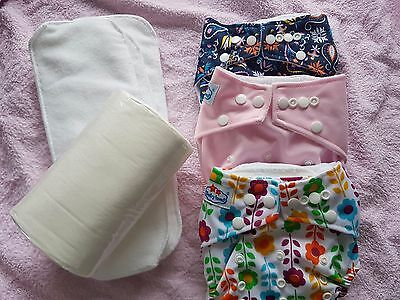 Modern Cloth Nappy Girls Starter Pack - 3 Nappies, 100 Liners, 3 extra Inserts