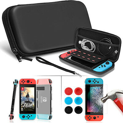 For Nintendo Switch Travel Carrying Case Bag+Screen Protector+Cover+Thumb Grips