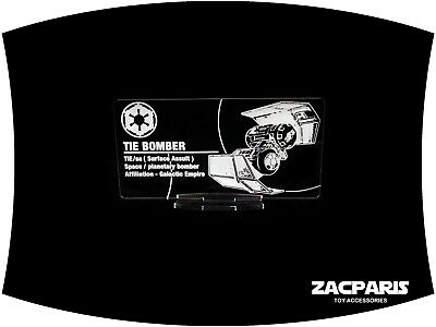 DISPLAY PLAQUE for Star Wars Tie Bomber kenner POTF Models, etc Clear acrylic!