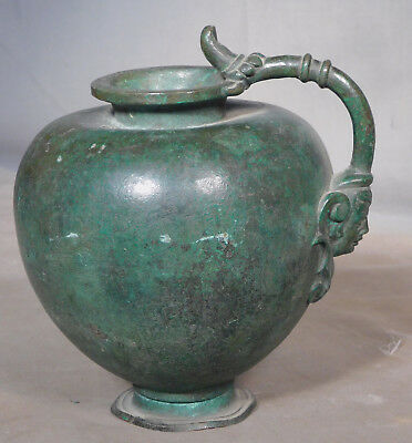 Antique Grand Tour Ancient Roman Bronze Vessel Gargoyle Thumb VERDIGRIS PATINA