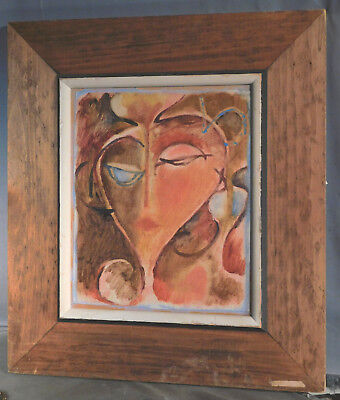 Reinhold Edelschein Mid-Century Modern Abstract Cubist Portrait Painting Female