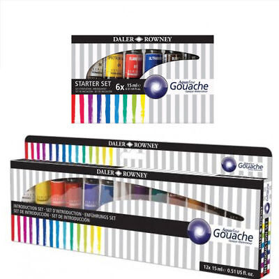 Daler Rowney Aquafine Gouache 15ml Tubes Assorted Colours Set of 12 or Set of 6