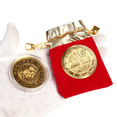 Gold Pig Commemorative Coin Year of Pig Coins New Year Gift with Drawstring bag-