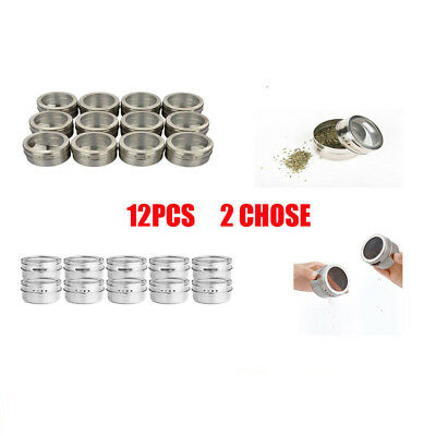 12 x Stainless Steel Magnetic Spice Rack Pot Herb Tin Jar Storage Holder Cook