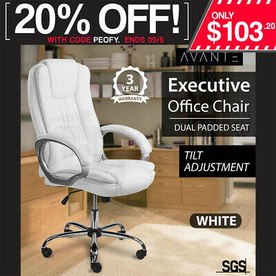 AVANTE Executive Premium Office Computer Chair PU Leather Recliner Seat White