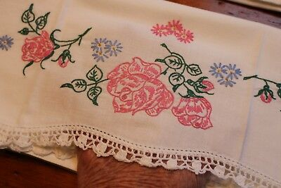 Vintage Snowy White Cotton Pillowcases Emb and Crochet 21x30 Pink Roses