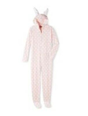 e90837dab8 Joe Boxer Bunny Hooded Footed Pajamas with Ears and Bunny Tail NWT L LAST  ONE