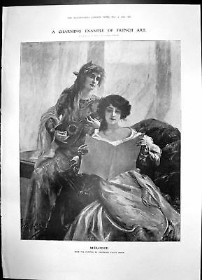 Antique Old Print Melodie Girls Banjo Reading Music Maclaren Head Keeper 1906