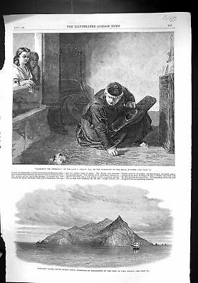 Old 1867 Pitcairn Island Pacific Ocean Ship H.M.S. Bounty Priest Gath Victorian
