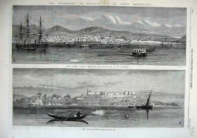 Old Antique Print 1867 Ship Ocean Byzantine Fort Earthquake Archipelago 19th