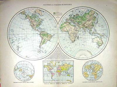 Old Print Western Eastern Hemispheres Map C1897 River Systems Water Land 0 19th
