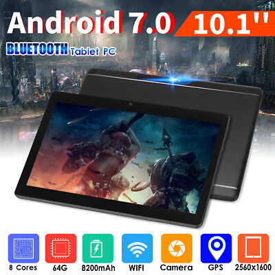 "10.1"" 64G Tablet PC Android 7.0 Octa Core 2Ghz 10 Inch WIFI 2SIM 4G Phablet OV"