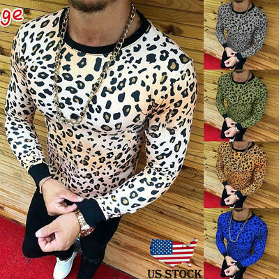 Leopard Men's Slim Fit O Neck Long Sleeve Muscle Tee T-shirt Casual Tops Blouse