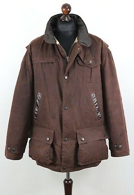 BARBOUR A 1551 BUSHMAN Mens Waxed Jacket Utility Multipocket Rustic size XL AUTH