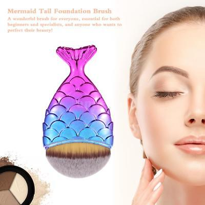 Pro Mermaid Foundation Blusher Face Powder Cosmetic Makeup Brush Fish Tail F7T8