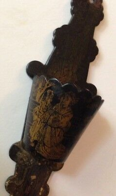 "Antique 8"" Japanese Black Lacquer Match Holder Striker - Wall Hanging 19th c."