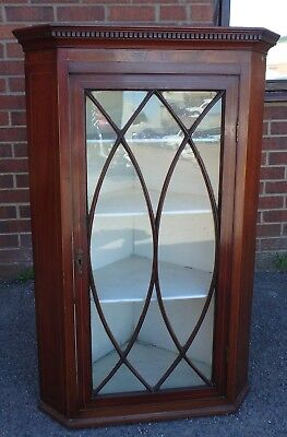 George III antique Chippendale period mahogany glazed hanging corner cabinet