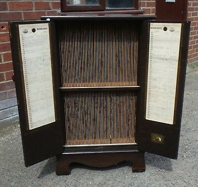 Art Deco antique figured oak HMV 100 record vinyl storage collectors cabinet