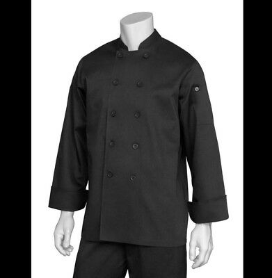 Men's Large Chef Coat Black With Hat Cook NEW