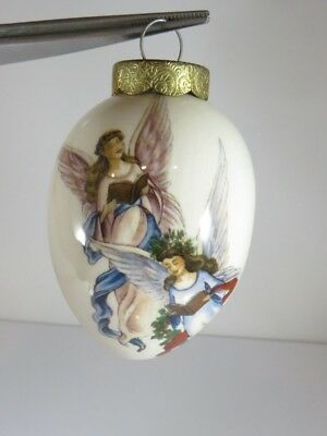 Victorian Style Cream Collectible Egg Singing Angels Christmas Ornament