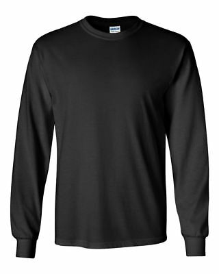###Gildan Ultra Cotton Mens Crewneck Long Sleeve T-Shirt SIZE MEDIUM   BLACK