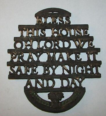 Cast Iron Vintage Trivet Bless This House Oh Lord We Pray Make it Safe Night Day