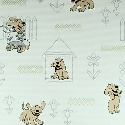 Vinyl Wallpaper Roll Wallcovering Gray Dogs Nursery Kids