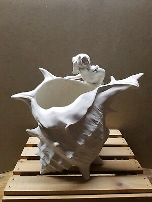 Vintage inspired Mermaid with shell-ceramic mermaid collectible- you paint