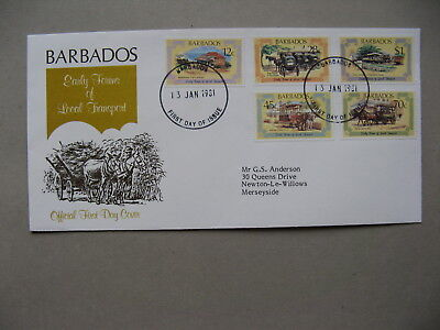 BARBADOS, cover FDC 1981, local transport train tramway
