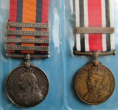 Queen South Africa 4 clasps & Special Constabulary FS clasp Great War