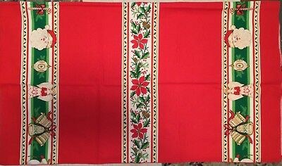 Nearly Vintage Holiday Tablecloth 60L X 52W Red W/Santa, Bells, Ornaments, Canes