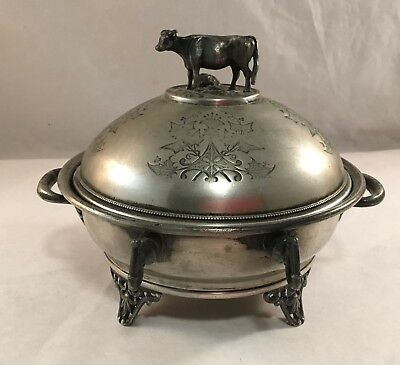 Antique Victorian Silverplate Cow Figural Finial Engraved Covered Butter Dish