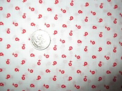 COUNTRY GIRL Vintage RED FLOWERS On WHITE 1970's Sheer COTTON Fabric-3 yd