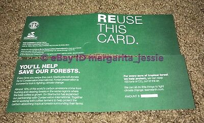 Starbucks Gift Card Sleeve 2 Green Conservation International 2010 Recycle Paper