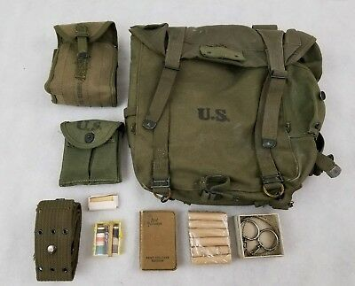 PACK FIELD COMBAT M-1945 January 1951 Army Backpack Lot Small Bible Fishing