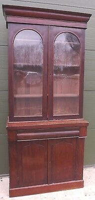 Antique William IV Flame Mahogany Library Bookcase Cabinet, Needs Some TLC