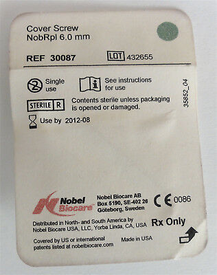 REDUCED $2! NOBEL BIOCARE COVER SCREW NobRpl 6.0 mm REF 30087 - NEW/SEALED