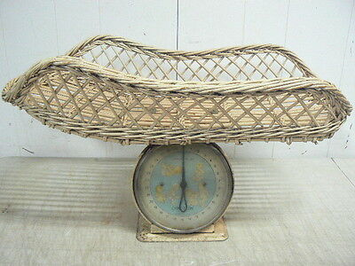 Vintage Chatillon 30 Pound Baby Nursery Weight Scale With Wicker Basket Attached