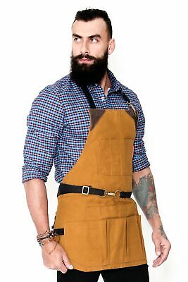 Tool Apron - Khaki Waxed Canvas, Leather Trim, 12 Pockets, Heavy-Duty, NoTie, Wo
