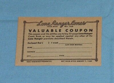 vintage The LONE RANGER CONES ice cream coupon promotional promo from 1939