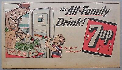 7-Up Ad: Fresh Up With Seven-Up! The Family Drink! from 1950's  7.5 x 15 inches
