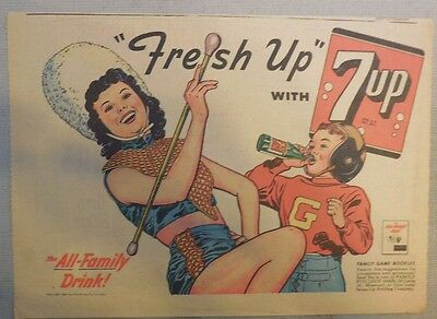 "7-Up Ad: The ""Fresh Up"" Family Drink ! from 1940's- 50's  8 x 10.5  inches"