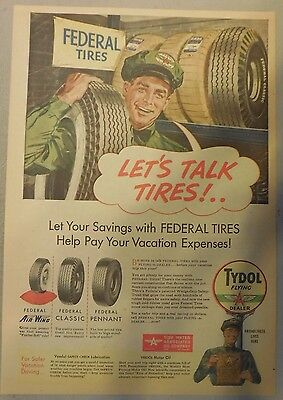 Tydol Federal Tires Ad from 1920's - 1950's from Newspaper Magazine